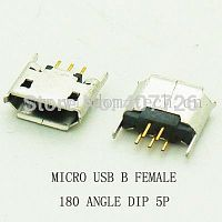 Разъем DIP фото36 USB micro B female 180angle 5pin