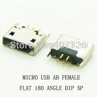 Разъем DIP фото34 USB micro AB female flat 180 angle 5pin